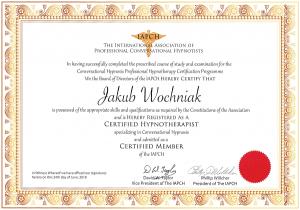 Jakub Wochniak Certyfikat Hipnoterapia Konwersacyjna